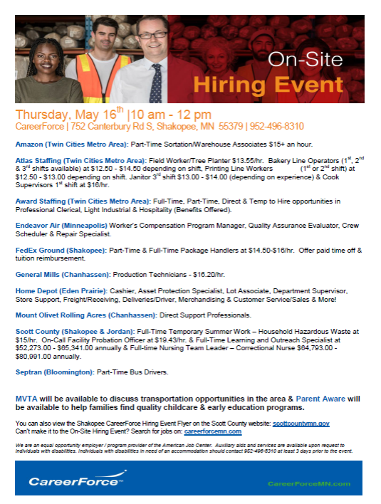 May 16 hiring event