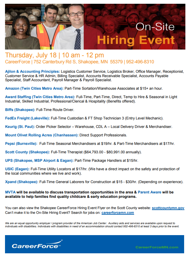 July 18 hiring event