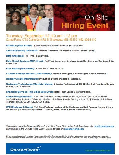 September 12 hiring event