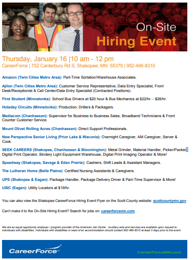 January 16 hiring event
