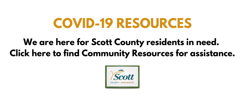 COVID-19 resources banner. we are here for Scott County residents in need. Click here to find Commun