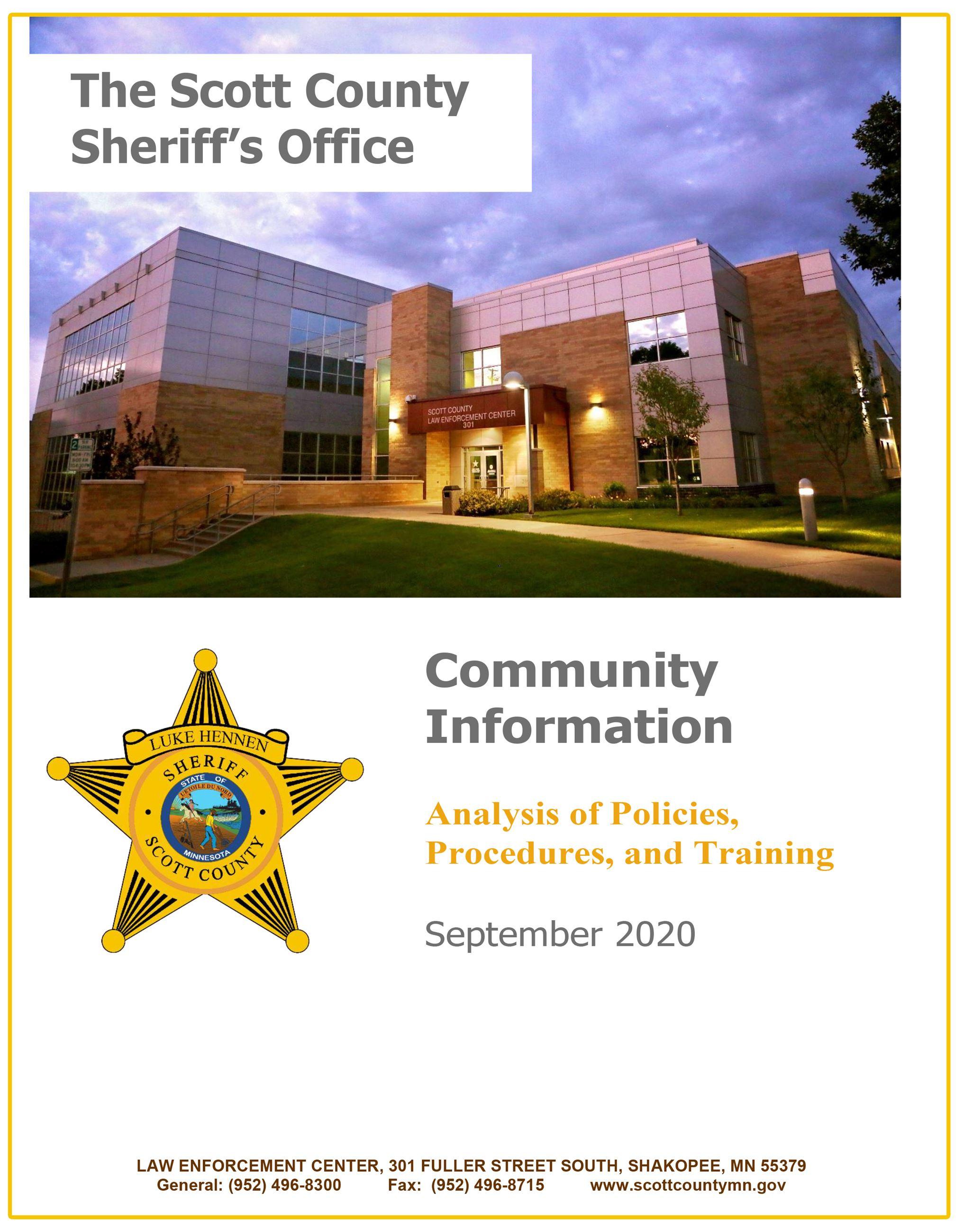 Community Information SCSO Analysis of Policies Procedures and Training 2020