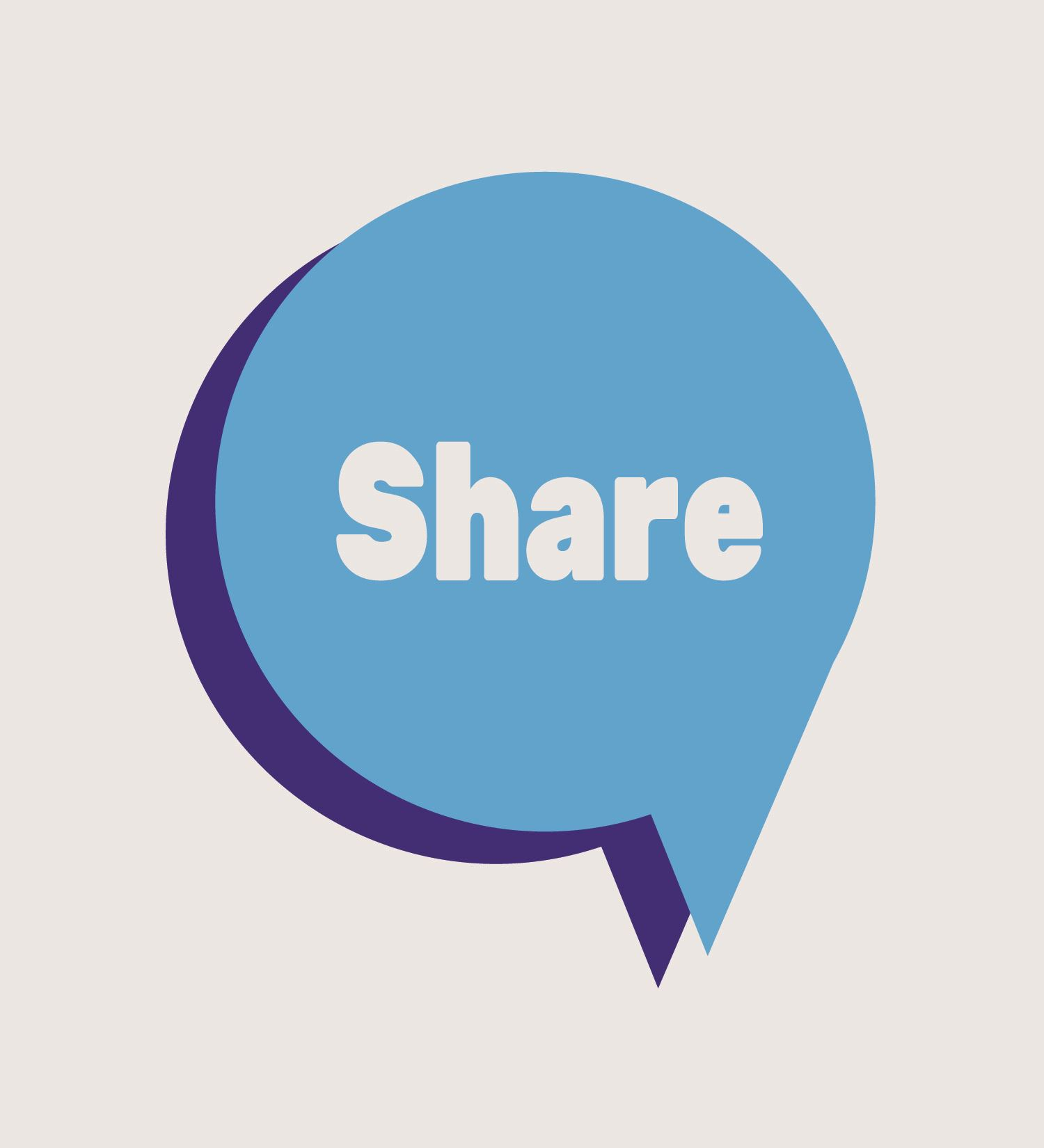 Cartoon image of a thought bubble with the word 'share' displayed inside